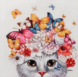 Chaton avec perruque à fleurs