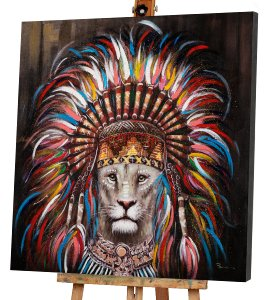 Lion with Indian Wig