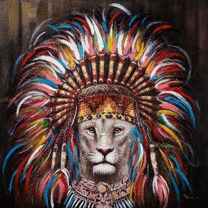 Lion avec perruque indienne