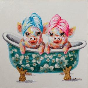 2 cochons dans la baignoire