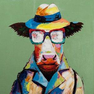 Vache colorée avec chapeau