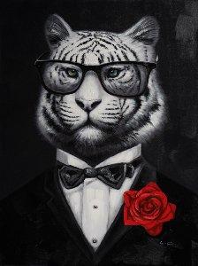 Tigre à fleur rouge