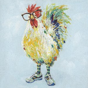 Proud rooster with glasses