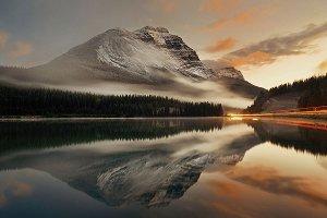 reflecting mountain in the sea