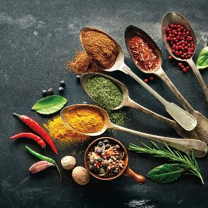 Antique spoons with spices I