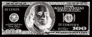 Dollar note in black and silver