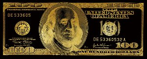 Dollar note in black and gold
