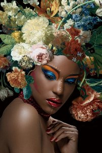 Black beauty with flowers on her head II