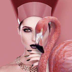 Cleopatra with flamingo