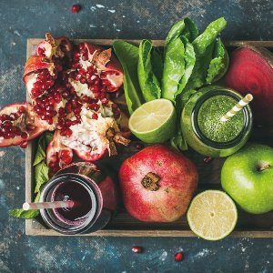 Fruits on wooden tray