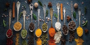 Antique spoons with spices V