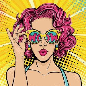Pop Art WOW avec des lunettes