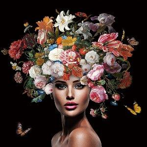 Beauté avec perruque de fleurs IV