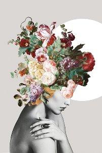 Beauté avec perruque de fleurs en pastel I