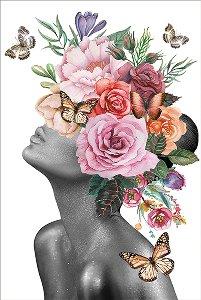 Beauté avec perruque de fleurs en pastel II