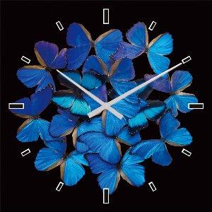 Wall clock blue butterflies