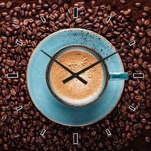 Wall clock blue coffee cup
