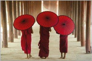 Mönche mit Schirmen