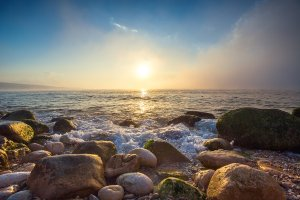 Sunset on the stony sea