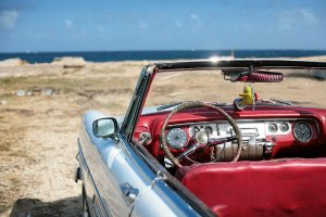 Vintage car on the beach