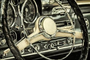 Steering wheel of a vintage car