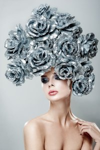 Beauty with silver wig