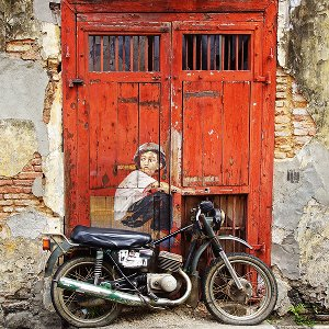 Street Art with moped