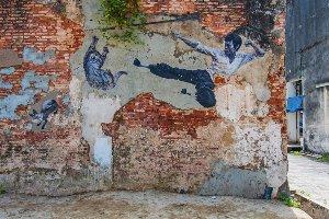 Street Art mit Kämpfer