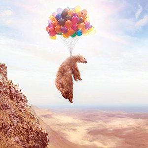 Fliegender Bär an Luftballons