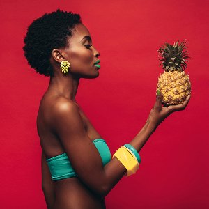 Beauty with pineapple