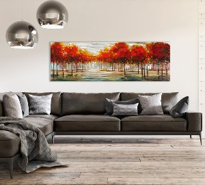 autumn landscape on silver